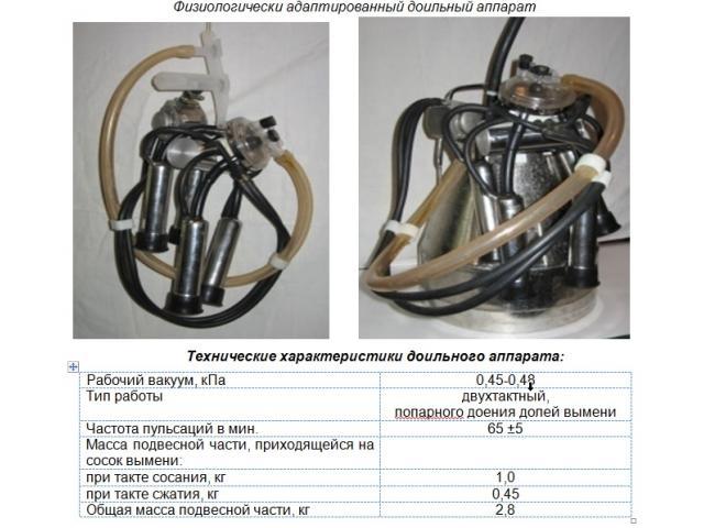 Физиологически адаптированный доильный аппарат